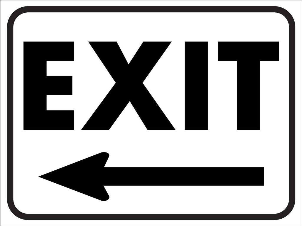 Exit Black and White (Left Arrow) Sign