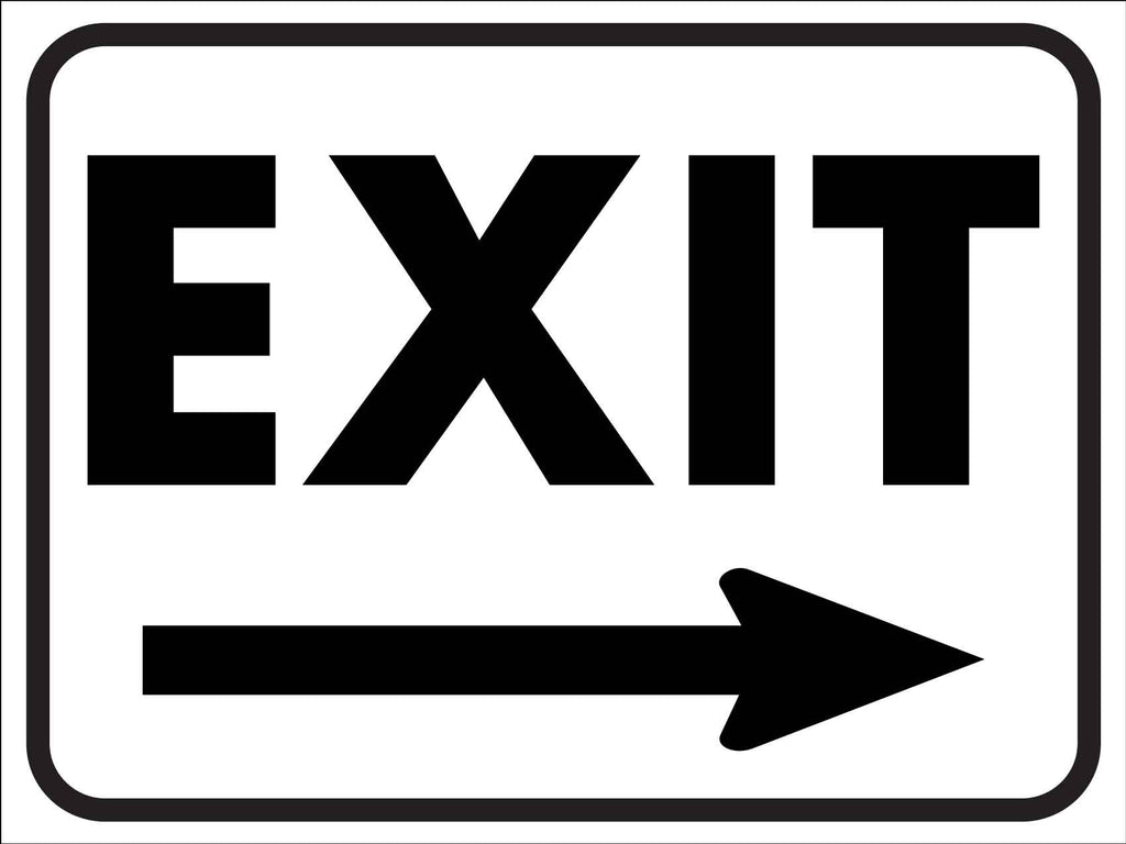 Exit Black and White (Right Arrow) Sign