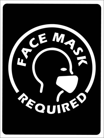 Face Mask Required Image Black Sign