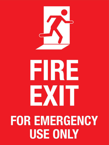 Fire Exit For Emergency Use Only Sign