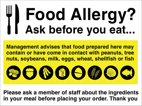 Food Allergy Ask Before You Eat Sign