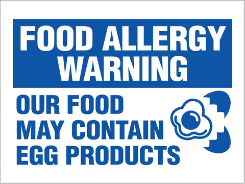 Food Allergy Warning Egg Products Sign