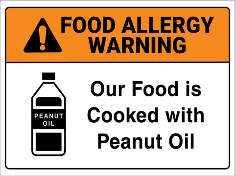 Food Allergy Warning Peanut Oil Sign