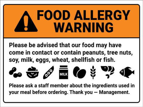 Food Allergy Warning Symbols Sign