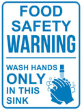 Food Safety Warning Wash Hands Only Sign