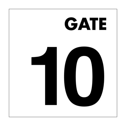 Gate No 10 Sign