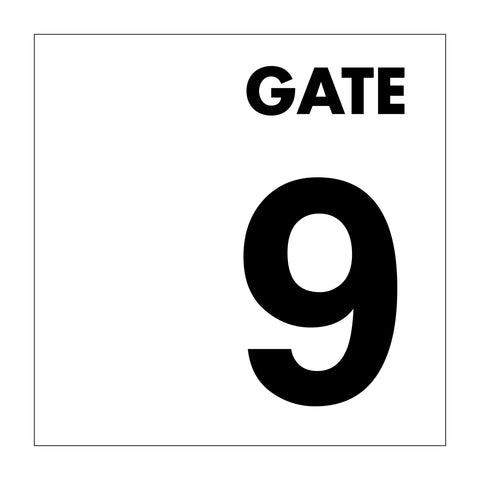 Gate No 9 Sign