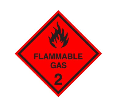 Hazchem CLASS 2 - FLAMMABLE GAS - BLACK  - Sticker