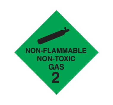 Hazchem CLASS 2 - NON-FLAMMABLE NON-TOXIC GAS - BLACK - Sticker
