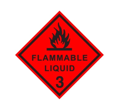Hazchem CLASS 3 - FLAMMABLE LIQUID - BLACK - Sticker