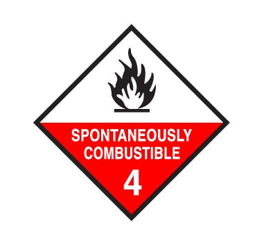 Hazchem CLASS 4 - SPONTANEOUSLY COMBUSTIBLE - Sticker
