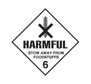 Hazchem CLASS 6 - HARMFULL STOW AWAY FROM FOODSTUFFS - Sticker