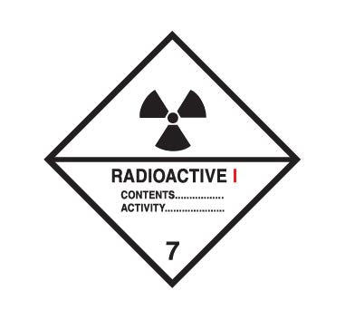 Hazchem CLASS 7 - RADIOACTIVE - CATEGORY 1 - Sticker