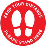 Keep Your Distance Please Stand Here Floor Sticker - Anti Slip
