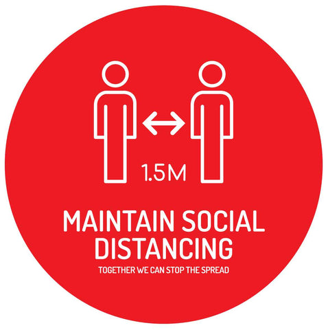 Maintain Social Distancing Floor Graphic Sign - Red And White
