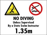 NO DIVING  unless supervised by a State Swim Instructor
