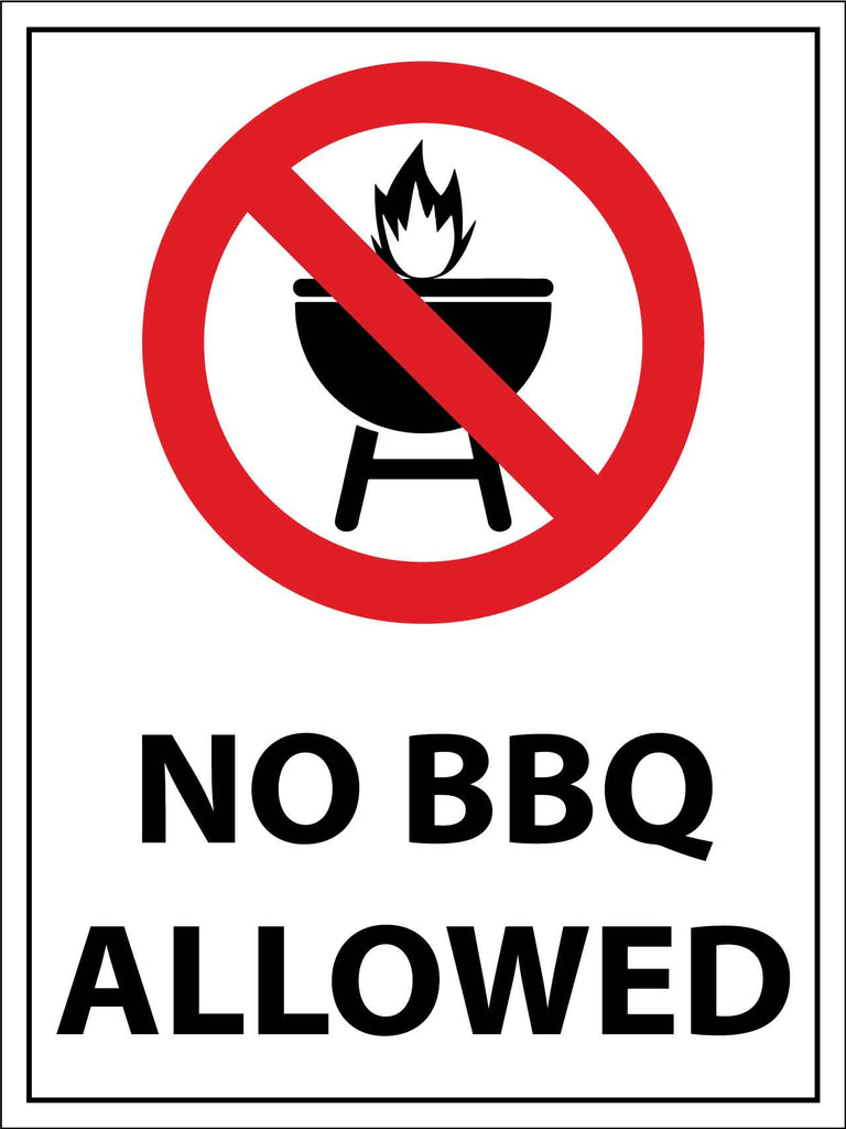 No BBQ Allowed Sign