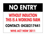No Entry Without Induction This Is A Working Farm - Contact Number