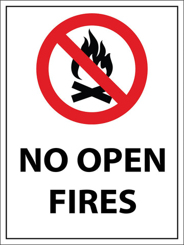 No Open Fires Sign