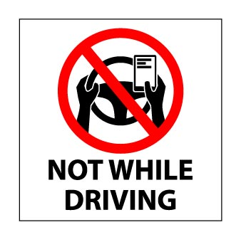 Not While Driving Vehicle Sticker
