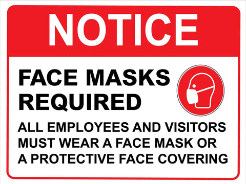 Notice Face Mask Required All Employees Red Sign
