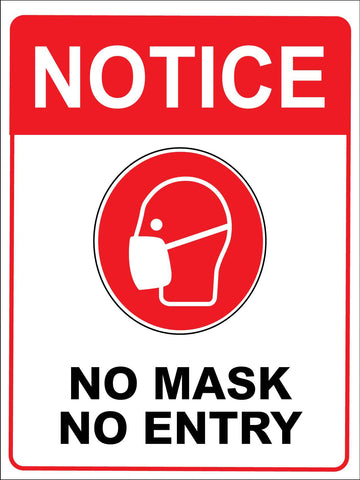 Notice No Mask No Entry Red Sign