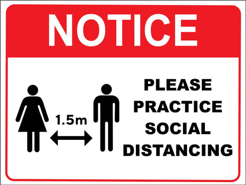 Notice Please Practice Social Distancing Red Sign