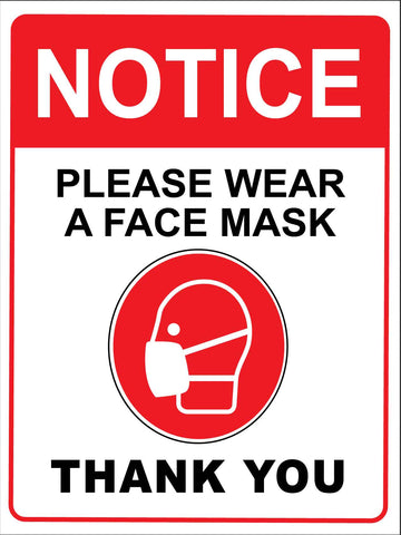 Notice Please Wear A Face Mask Thank You Sign - Red and White