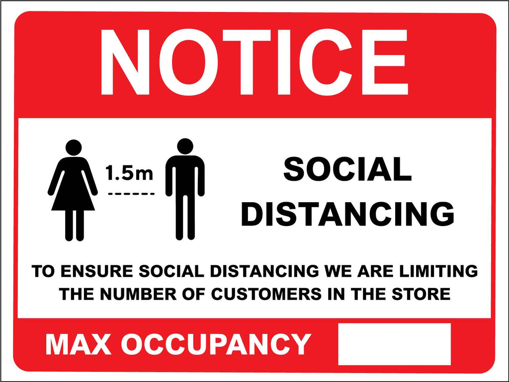 Notice Social Distancing Max Occupancy Red Sign