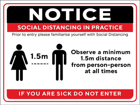 Notice Social Distancing Practice Sign