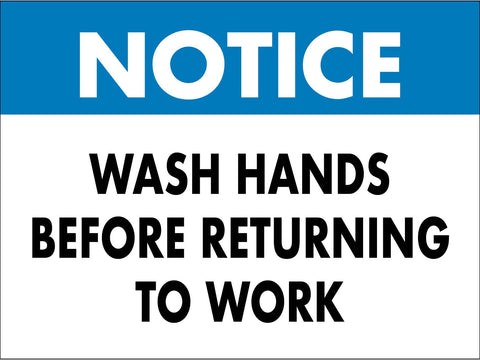 Notice Wash Hands Before Returning to Work Sign