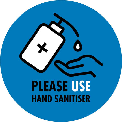 Please Use Hand Sanitiser Blue Decal