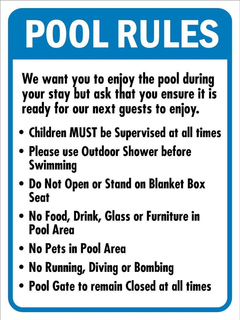 Pool Rules 4 Sign