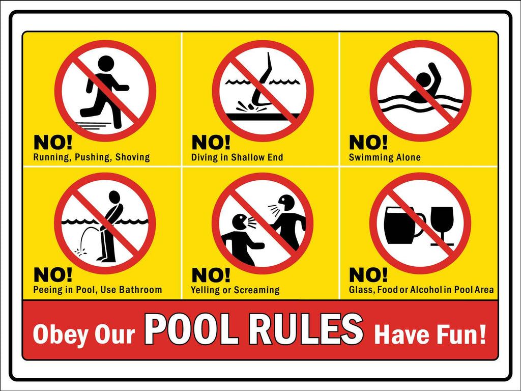 Pool Rules Red and Yellow Sign