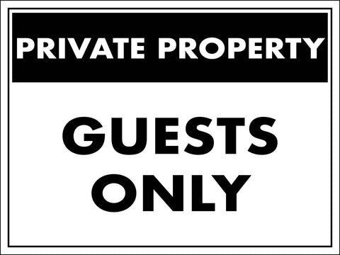 Private Property Guests Only Sign