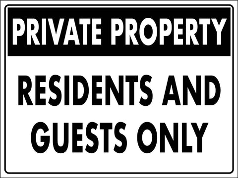 Private Property Residents And Guests Only Sign