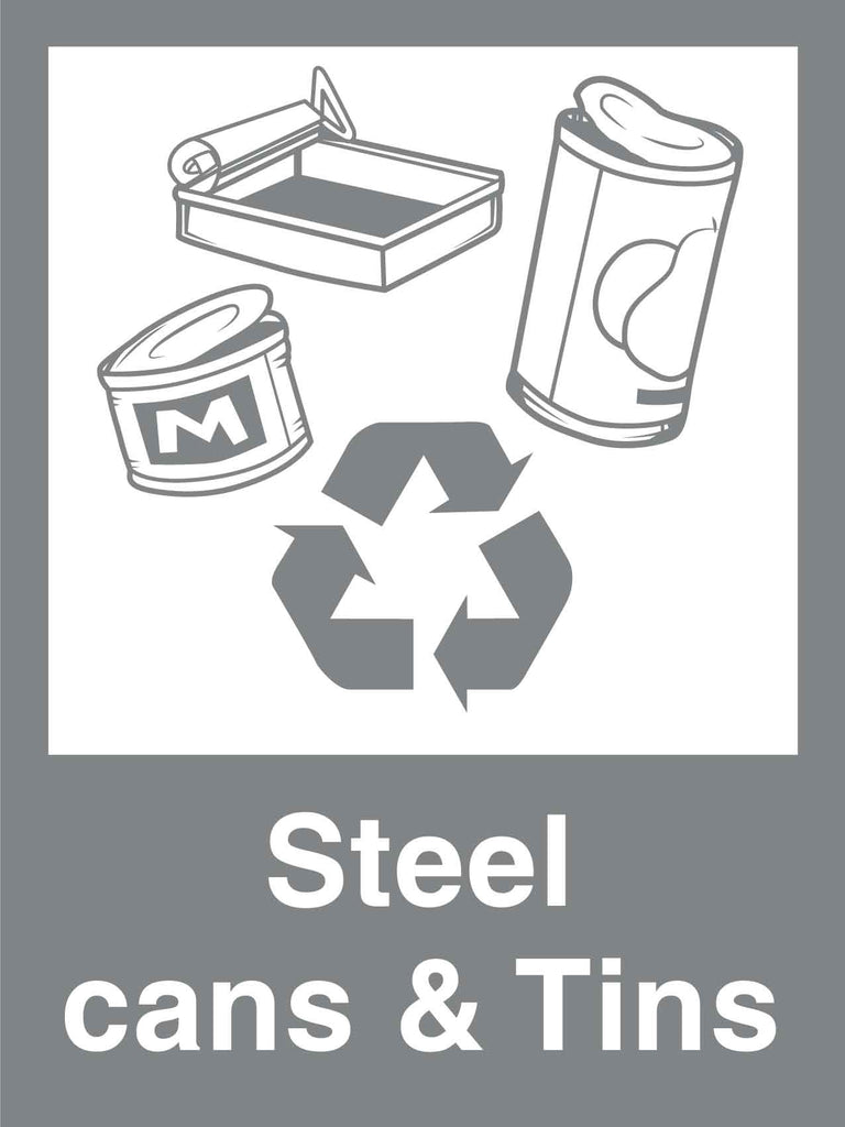 Recycle Steel Cans & Tins Sign