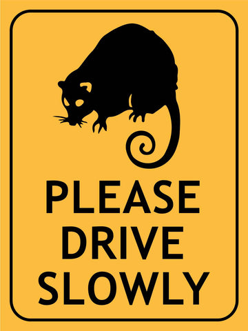 Ringtail Possum Please Drive Slowly Sign