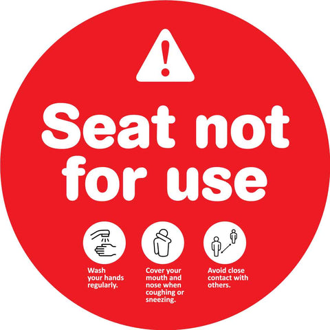 Seat Not For Use Red Decal