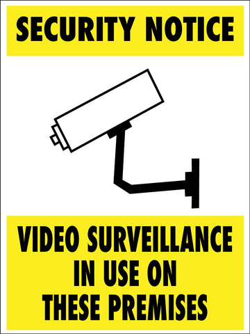 Security Notice Video Surveillance In Use On These Premises Sign