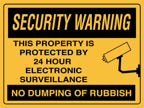 Security Warning No Dumping Of Rubbish Sign