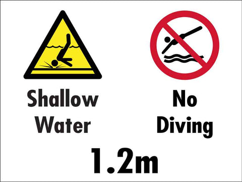 Shallow Water No Diving 1.2m Sign