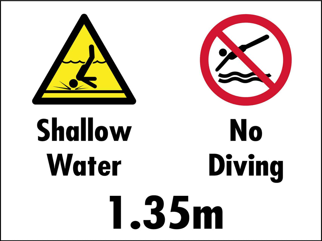Shallow Water No Diving 1.35m Sign
