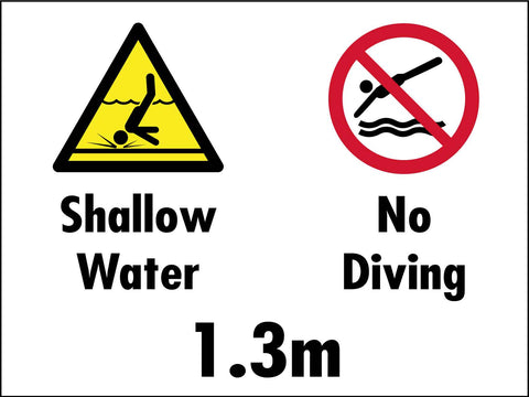 Shallow Water No Diving 1.3m Sign