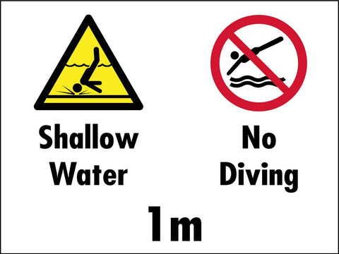 Shallow Water No Diving 1m Sign