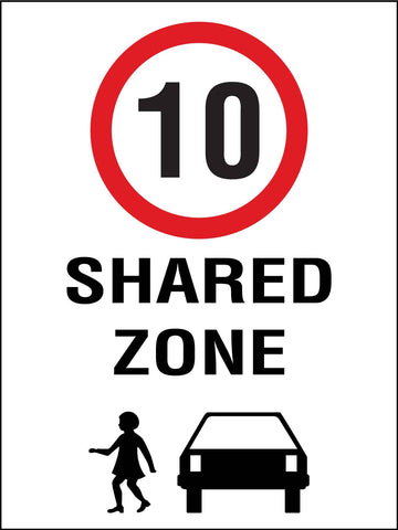 Shared Zone 10km Speed Limit Sign