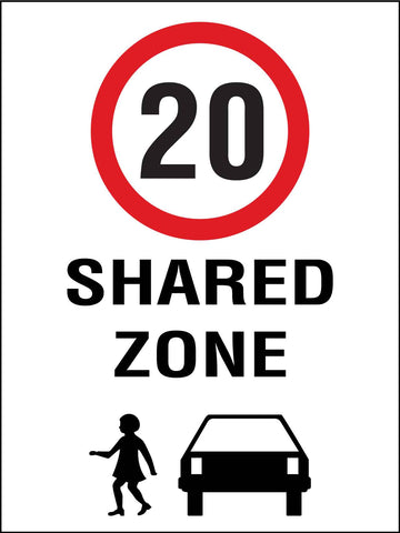 Shared Zone 20km Speed Limit Sign