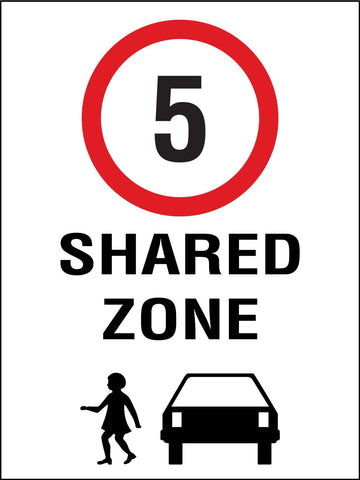 Shared Zone 5km Speed Limit Sign