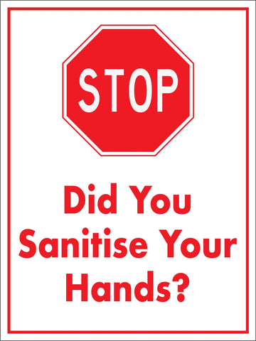 Stop Did You Sanitise Your Hands Sign