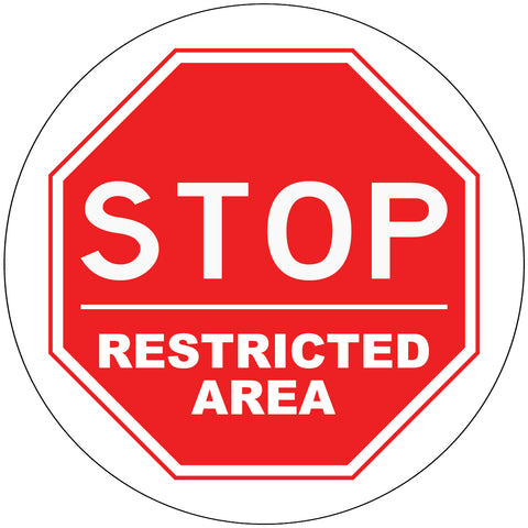 Stop Restricted Area Decal